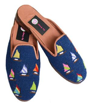 By Paige Ladies Needlepoint Rainbow Fleet on Navy Mules  Apparel & Accessories > Shoes > Clogs & Mules