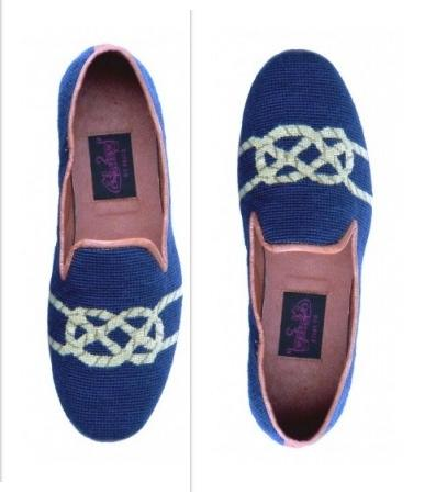 By Paige Mens' Needlepoint Knot on Navy Loafers f  Apparel & Accessories > Shoes > Loafers