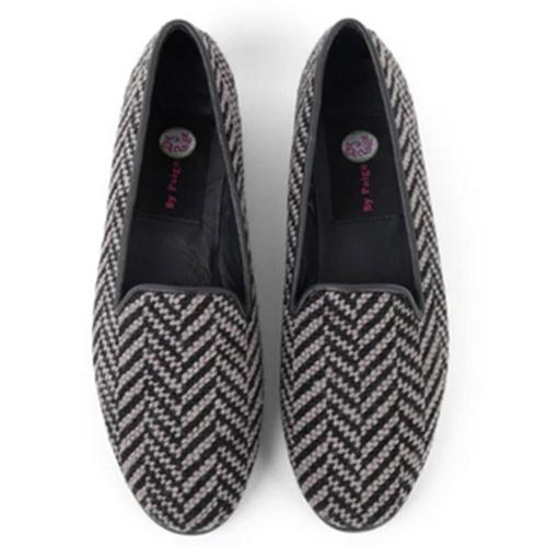 By Paige Women's Herringbone Gray and Black Needlepoint Loafers  Apparel & Accessories > Shoes > Loafers
