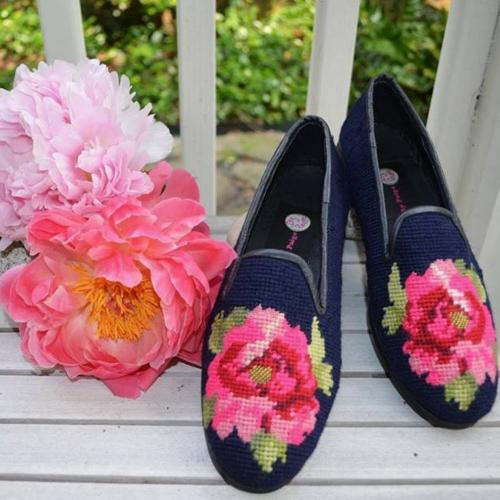 By Paige Ladies Needlepoint Peony on Navy Loafers   Apparel & Accessories > Shoes > Loafers
