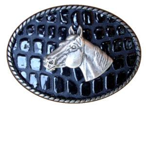 Loopty Loo Horse Head Crocodile Embossed Belt Buckle  Horse Head Crocodile Embossed Belt Buckle  Apparel & Accessories > Clothing Accessories > Belt Buckles