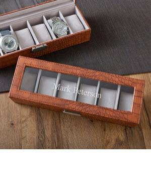 Personalized Watch Box Brown Crocodile Personalized Watch Box in Brown Crocodile  Home & Garden > Household Supplies > Storage & Organization > Dresser Valets