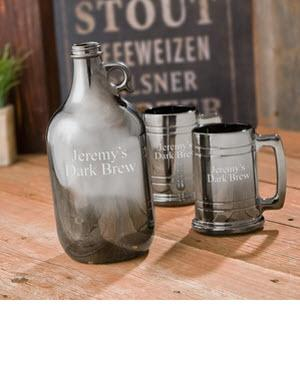 Personalized Gunmetal Beer Growler Set  Personalized Gunmetal Beer Growler Set  Home & Garden > Kitchen & Dining > Barware > Decanters