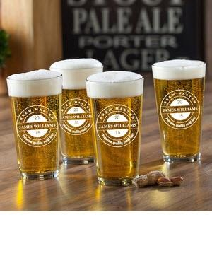 Personalized Pub Glass Brew Master Set  Home & Garden > Kitchen & Dining > Tableware > Drinkware > Pint Glasses
