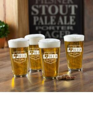 Personalized Glass Set I Love Beer Pub   Home & Garden > Kitchen & Dining > Tableware > Drinkware > Pint Glasses