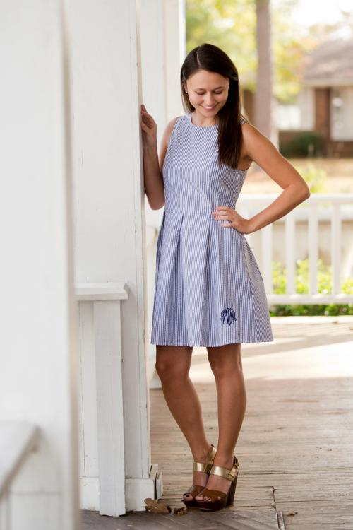 ON SALE! Monogrammed Navy Seersucker Ladies Classic A-Line Dress  Apparel & Accessories > Clothing > Dresses > Day Dresses