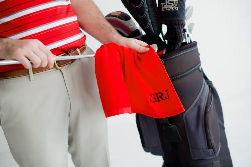 Personalized Red Golf Towel  Sporting Goods > Outdoor Recreation > Golf > Golf Towels