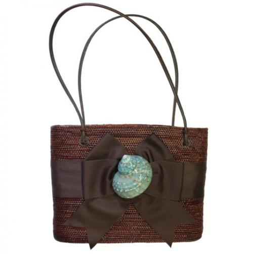 Chocolate Large Oval Bali Bag Bow and Shell Chocolate Large Oval Bali Bag Bow and Shell Apparel & Accessories > Handbags > Shoulder Bags