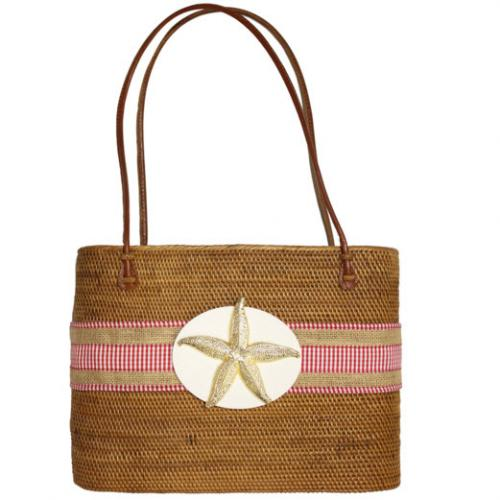 Large Oval Bali Bag Check Ribbon and Starfish Large Oval Bali Bag Check Ribbon and Starfish Apparel & Accessories > Handbags > Tote Handbags