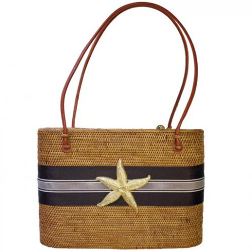 Large Oval Bali Bag Stripe Ribbon and Starfish Large Oval Bali Bag Stripe Ribbon and Starfish Apparel & Accessories > Handbags > Tote Handbags