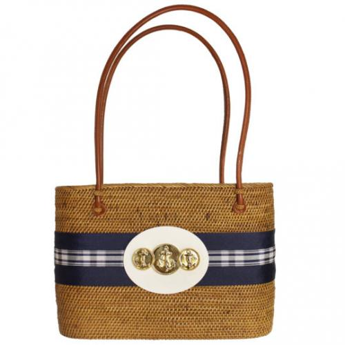 LOB Bag Navy Ribbon Triple Anchor LOB Bag Navy Ribbon Triple Anchor Apparel & Accessories > Handbags > Tote Handbags