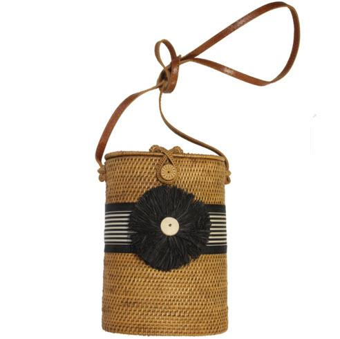 Tall Oval Bali Bag Band Ribbon Raffia Flower  Apparel & Accessories > Handbags > Shoulder Bags