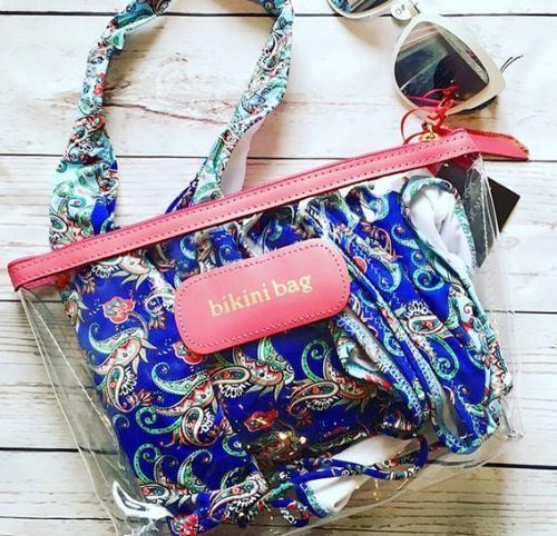jon hart personalized clear grande pouch bag