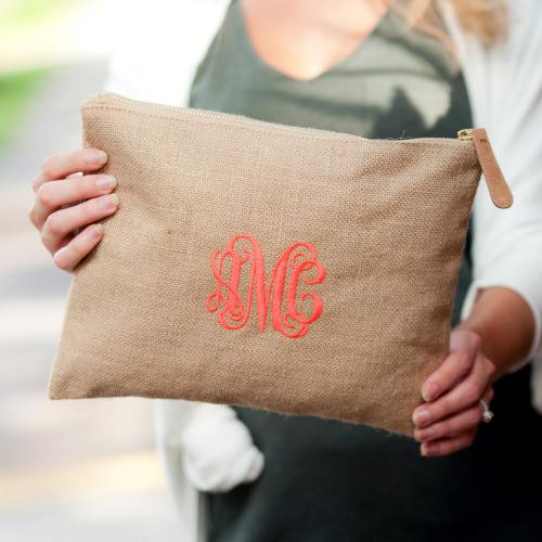 Monogrammed Burlap Zip Pouch  Luggage & Bags > Luggage Accessories > Travel Pouches