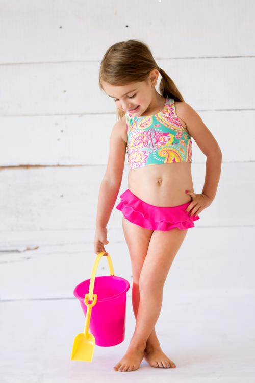 Monogrammed Summer Paisley Girl's Swimsuit Set  Apparel & Accessories > Clothing > Baby & Toddler Clothing > Baby & Toddler Swimwear