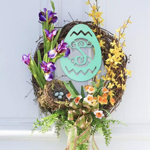 Wood Easter Egg Monogram Personalize to Your Decor  Home & Garden > Decor > Plaques