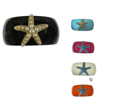 Bosom Buddy Narrow Cuff with Starfish Assorted Colors  Apparel & Accessories > Jewelry > Bracelets