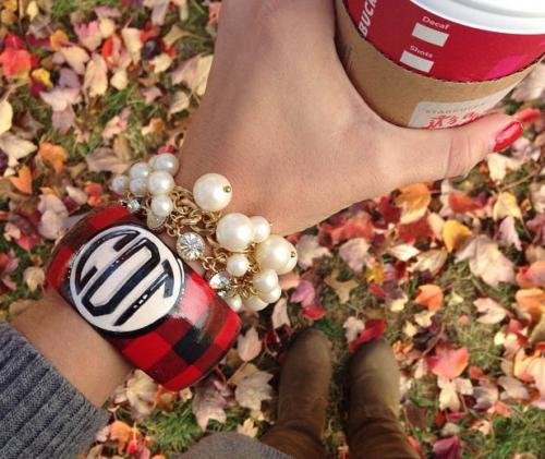 Monogrammed Red and Black Buffalo Check Handpainted Bangle  Apparel & Accessories > Jewelry > Bracelets