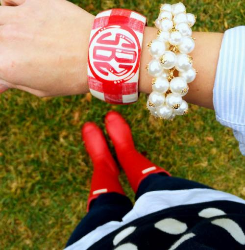 Monogrammed Red and White Hand Painted Bangle Monogrammed Red and White Hand Painted Bangle Apparel & Accessories > Jewelry > Bracelets