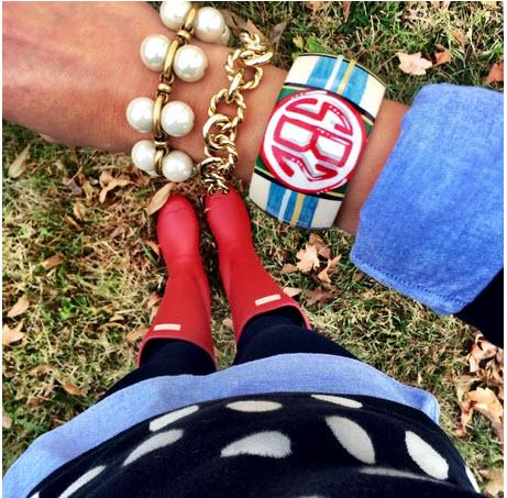 Monogrammed Good Girls Gone Plaid Bangle Bracelet  Apparel & Accessories > Jewelry > Bracelets