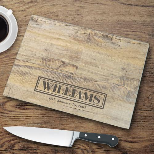 Personalized Glass Cutting Board Rustic Wood Look  Personalized Glass Cutting Boards Rustic Wood Background  Home & Garden > Kitchen & Dining > Kitchen Tools & Utensils > Cutting Boards