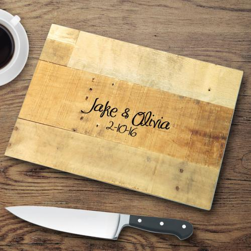 Personalized Glass Cutting Board Mixed Wood Look  Personalized Glass Cutting Boards Wood Background  Home & Garden > Kitchen & Dining > Kitchen Tools & Utensils > Cutting Boards