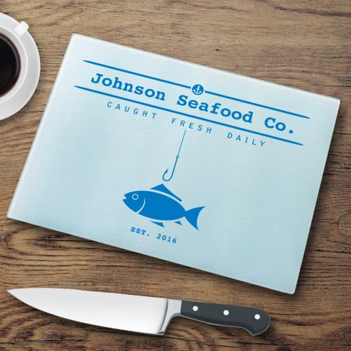 Personalized Glass Cutting Board Fish and Hook  Glass Cutting Board Fish N Hook Home & Garden > Kitchen & Dining > Kitchen Tools & Utensils > Cutting Boards