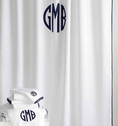 Matouk Monogrammed Chiaro Shower Curtain  Home & Garden > Bathroom Accessories > Shower Curtains