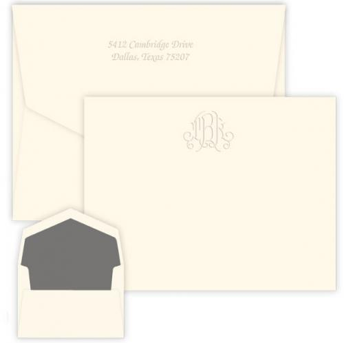 Personalized Victoria Monogram Embossed Correspondence Card  Office Supplies > General Supplies > Paper Products > Stationery