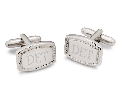 Monogrammed Rectangular Cufflinks with Beaded Edge  Monogrammed Rectangular Cufflinks Beaded  Apparel & Accessories > Jewelry > Cufflinks
