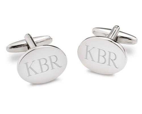 Personalized Cufflinks Men's Silver Oval  Personlaized Cufflinks Men's Silver Oval  Apparel & Accessories > Jewelry > Cufflinks
