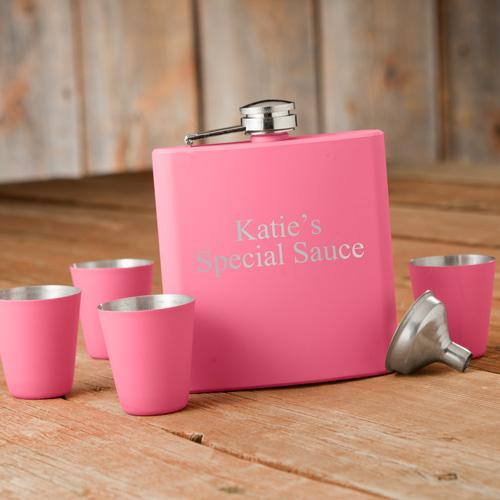 Personalized Flask and Shot Glass Set Pink Matte  Personalized Flask and Shot Glass Set Pink Matte  Home & Garden > Kitchen & Dining > Food & Beverage Carriers > Flasks