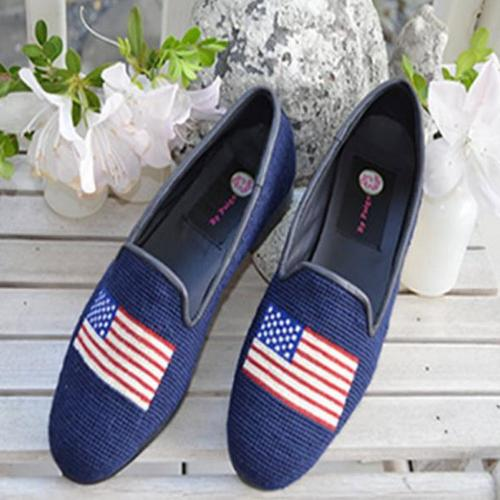 By Paige Navy American Flag Needlepoint Loafers   Apparel & Accessories > Shoes > Loafers