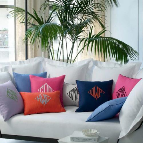 Monogrammed Linen Pillow  Home & Garden > Decor > Throw Pillows