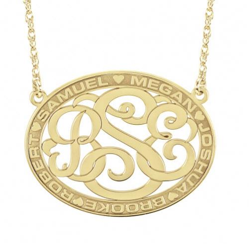 Monogrammed Necklace Mother's Pendant with Border Design  Apparel & Accessories > Jewelry > Necklaces