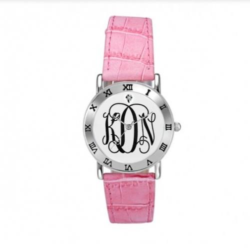 Monogramed Watch Ladies with Pink Leather Band  Apparel & Accessories > Jewelry > Watches