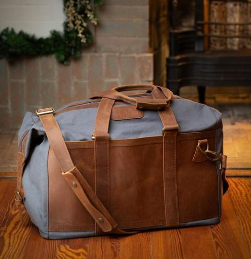 Jon Hart Personalized Canvas and Distressed Leather Duffel Bag  Luggage & Bags > Duffel Bags