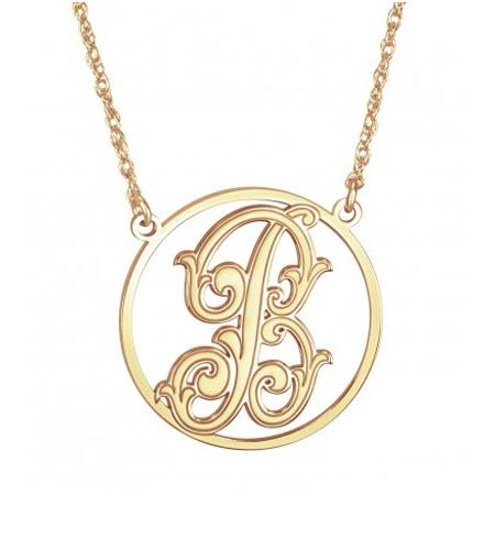 Monogrammed Necklace with  Single Baroque Initial   Apparel & Accessories > Jewelry > Necklaces