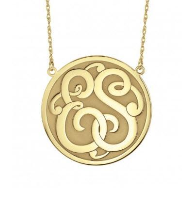 Monogrammed Necklace in Classic Recessed Double Initial Style   Apparel & Accessories > Jewelry > Necklaces