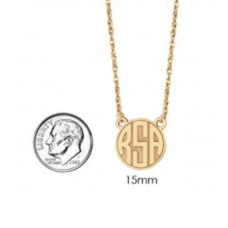 Monogrammed Necklace Recessed with Block Initial  Apparel & Accessories > Jewelry > Necklaces