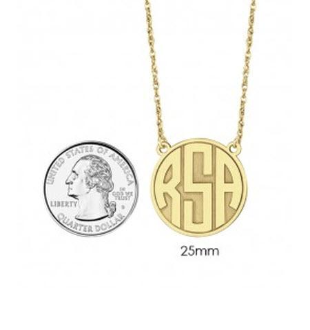 Monogrammed Necklace in Recessed Style with Block Initial    Apparel & Accessories > Jewelry > Necklaces