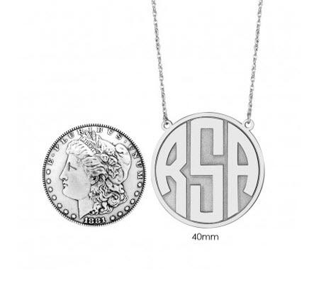 Monogrammed Necklace with Recessed Block Initial  Apparel & Accessories > Jewelry > Necklaces
