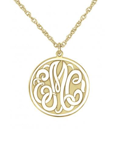 Monogrammed Necklace in Classic Recessed Style   Apparel & Accessories > Jewelry > Necklaces