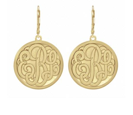 Monogrammed Earrings in Classic Bordered Recessed  25mm  Apparel & Accessories > Jewelry > Earrings