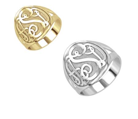 Monogrammed Ring in Recessed Classic Style with Border   Apparel & Accessories > Jewelry > Rings