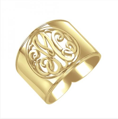 Monogrammed Ring Cigar Band Style with Classic Cutout Design  Apparel & Accessories > Jewelry > Rings
