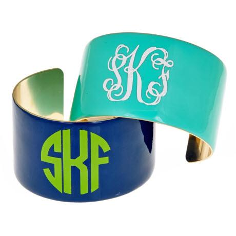 Monogrammed Enamel Cuff  Apparel & Accessories > Jewelry > Bracelets