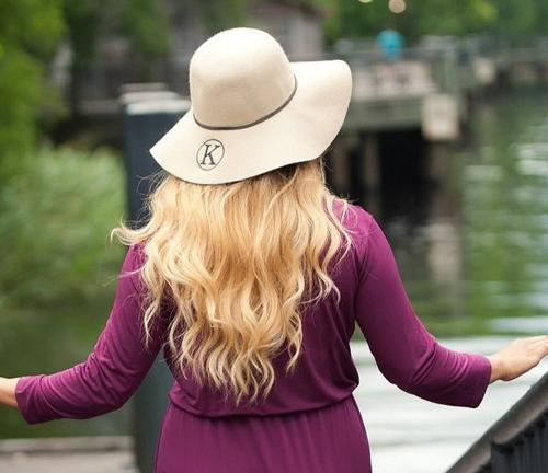 Monogrammed Ladies Natural Colored Wool Floppy Hat  Apparel & Accessories > Clothing Accessories > Hats