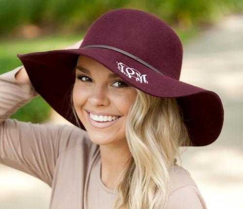 Monogrammed Wine Ladies Wool Floppy Hat  Apparel & Accessories > Clothing Accessories > Hats