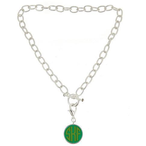 Monogrammed 16 Inch Toggle Necklace with Disc  Apparel & Accessories > Jewelry > Necklaces